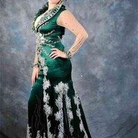 긴 소매와 아플리케 레이스와 에메랄드 그린 아랍어 kaftan 이브닝 드레스 새틴 abaya 두바이 터키 시폰 댄스 파티 드레스