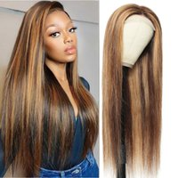 4x4 Straight Closure Wig P4 27 Highlight Lace Closure Human Hair Wigs 30 Inch Piano Color Lace Front Wig fro women