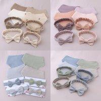 Bibs & Burp Cloths Baby Elastic Bow Headband Feeding Drool Saliva Towel Kit Princess Bowknot Cotton Hair Band Solid Color Snap Button Bib