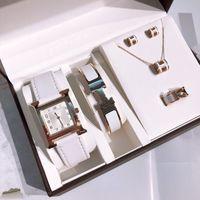 Relógio de designer clássico para mulheres jóias 5 pcs conjuntos anel brincos colar de pulseira de alta qualidade logotipo quartzo h série senhora presente