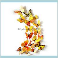 Décor & Garden12Pcs Lot Pin Ornament Cute Butterflies Wall Stickers Decals Home Decoration Room Art Drop Delivery 2021 5Lqvx