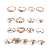 Kimter Boho Retro Finger Band Crystal Knuckle Ring Set for Women Girls Creative Bohemian Vintage Rings Fashion Jewelry Accessories K80FA