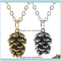 القلائد المعلقات قلادة مجوهرات امرأة ذهبية / سبيكة سبيكة اللون القلادة pinecone الأزياء الهيب هوب مجوهرات الصخور الديكور del