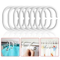 Hooks & Rails 30# 16pcs set Plastic C Shape Bath Drape Shower Bendable Curtain Loop Ring Bathroom Bathing