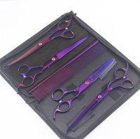 """7 """"Purple Professionnel 6pcs / Toilettage pour animaux de compagnie Ciseaux Kit Kit Cheveux Cheveux Cheveux Courbe Curbe Coiffure Pet Coiffure Beauté Accessoires 1473 V2"""