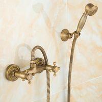 青と白の磁器アンティークの真鍮の降雨シャワーセットの蛇口+ハンドヘルド壁に取り付けられたタップH2275バスルームセット