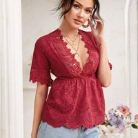 2021 fashion summer short sleeve red pink sexy blouse v neck baby doll shirt Lace embroidery ruffle boho tops for women c461