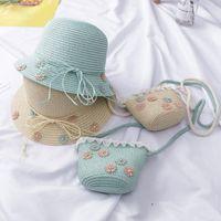Caps & Hats 2pcs Girl Kids Holiday Beach Bucket Breathable Cap Straw Sun Hat+Shoulder Handbag Bag Size 3-8Y Props Gift