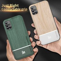 For Samsung Galaxy A20 A30 A50 A70 A10S A31 A51 A71 A81 A91 A12 A32 A42 A52 A72 Case Wood Grain Leather Ring Splicing Casing Cover