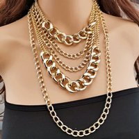 빈티지 멀티 레이어 체인 초커 목걸이 여성 Gold Silver 컬러 패션 초상화 chunky 목걸이 파티 쥬얼리 chokers 861 B3
