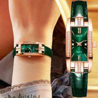 럭셔리 남성과 여성 시계 디자이너 브랜드 시계 ES, Carr, Rose 또는 Montre-Bracelet En Cuir Vert, Mode, Horloge Quartz, Cadeaux