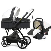 Cochecito de lujo para bebés Tres en uno PU Asiento de automóvil de dos en uno Seguridad para bebés Plegable Silla de bebé Accesorios de muñeca Cuna plegable multifuncional