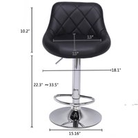 Modern Bar Stools High Tools Type, 2pcs Adjustable Chair Disk Rhombus Backrest Design Dining Counter Pub Chairs sea ship FWE9550