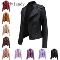 Women's Leather & Faux Mandylandy Women Fashion Jacket Casual Autumn Winter Zipper PU Soft Lapel Motorcycle Coat