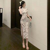 Ethnic Clothing Long Cheongsam Dress Modern Harajuku Blouse Chinese Traditional Hanfu Women Robe Chinoise Cheongsams BG50CC