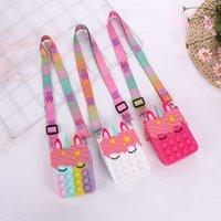 Fashion Push Bubbles Toy Rainbow Unicorn Kawaii Coin Purse Children Wallet Ladies Bag Silica Gel Simple Dimple Fidget Toy H1013