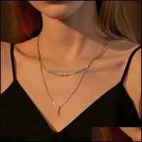 & Pendants Jewelry20Pcs Lot Brand Double Layer Diamond Necklaces One Word Rectangar Collarbone Chain Female Metal Gold V Neck Pendant Jewelr