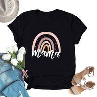 المتناثرة تي شيرت المرأة الملابس لطيف الأم الكرتون إلكتروني rainbow طباعة س الرقبة قصيرة الأكمام قمم 2021 فام camisetas المرأة تي شيرت
