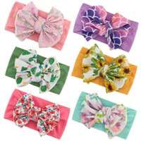 Creative hairs bands children hair accessories hand tied bow printed Headband nylon soft elastic baby hair band 9192