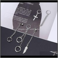 Jewelry5Pcs Kpop Bangtan Boy Long Chain Earrings Kit Korean Fashion Jewelry Dangle & Chandelier Drop Delivery 2021 Qxo07