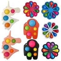 10pcs Colorful Fidget Push Pops Bubble Sensory Toy Squishy Stress Reliever Autism Needs Anti-stress Pop-It Rainbow Adult Children Toys