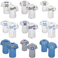 남성 여성 청소년 KC Royals Jersey # 30 Yordano Ventura 야구 착용 13 살바도르 페레즈 홈 블루 화이트 그레이 유니폼