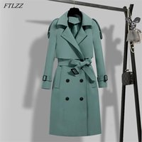 FTLZZ Autumn Winter Elegant Women Double Breasted Solid Trench Coat Vintage Turn-down Collar Warm with Belt 210902