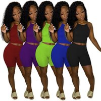 Women Tracksuits 2 piece set solid color summer clothing sexy club t-shirt shorts sweatsuit pullover leggings outfits crop top vest bodycon bodysuits running 01607