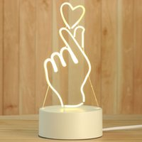 Creative 3D Night Lights Acrylic Desktop Nightlight Boys and Girls Holiday Gift Decorative Lamps Bedroom Bedside Table Lamp Than heart