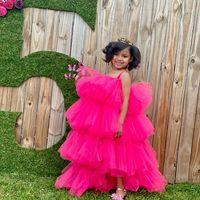 Fuchsia Flower Girl Dress Tiered Spaghetti Straps Kids Tulle Dress Tiered TUTU Kids Birthday Party Dress Cute First Communion Tulle Gowns Little Girls Wear