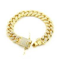 Charm Bracelets Mens Miami Zirconia Diamond Iced Out CZ Cuban Large Hip Hop Jewelry Gold Link Bracelet For Men JW006