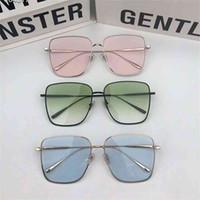 Gafas de sol de moda Plano Top de gran tamaño Plaza S Plaza Gentiles Mujeres Retro Gradiente Gafas de sol Hombres Marco grande Titanio Eyewear UV400 con estuche