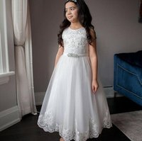 Girl's Dresses Flower Girl Dress Vintage Tulle Birthday Lace Appliqued Tiered Party Pageant Gown Formal For Wedding