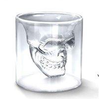 Drinkware 2.5oz أكواب النبيذ كأس الجمجمة النار النظارات البيرة الويسكي هالوين الديكور الإبداعي حزب شفاف شرب HWD7170