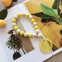 Деревянная бисера лимона гирлянды декор цветов кулон творческий конопляный веревка макрам из бисера шариков северные стиль украшения дома длинные 28см owc7131