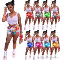 Femmes Tracksuits Sexy 2 pièces Ensemble Casual Sports Outfit Sans manches Débardeur + Mini Shorts Vêtements d'été Clubwear Print Jogger Costume 835