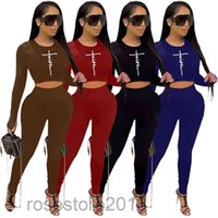 women letter tracksuit Outfit running sports long-sleeved top yoga clothes women's fitness thumb buckle 2 piece set