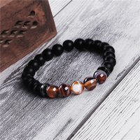 Minimalista 7 Chakra Balance Yoga Beads Pulsera para hombres 8mm Tiger Eye Piedra natural Agate Hematite Charms Lava Brazalets Estirar 232 W2