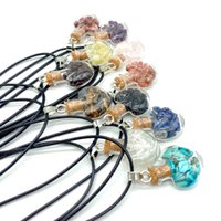 Handmade Natural Crystal Stone Glass Bottle Heart Pendant Necklaces For Women Girl Party Club Decor Fashion Jewelry