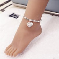 Anklets Love Heart Stamped Silver Plated Shiny Chains Anklet For Women Girl Friend Foot Jewelry Leg Bracelet Barefoot Tobillera De Prata