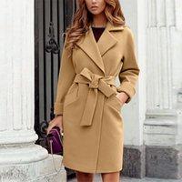Women's Wool & Blends Autumn Winter Fashion Long Coats Vintage Slim-fit Belt Lapel Sleeve Pocket Cardigan Casual Office Lady Jacket Overcoat