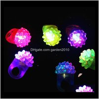 Favor Event Festive Supplies Home & Gardenflashing Bubble Ring Rave Party Blinking Soft Jelly Glow Selling! Cool Led Light Up W8200 Drop Del