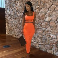 Women's Tracksuits Women Casual Clothing Sets Sexy Hollow Out Tank Crop Top + Bodycon Long Maxi Skirt Lady Solid Stretchy Outfits Clubwear