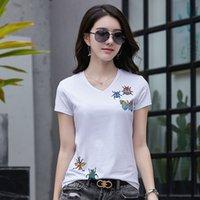 2021 활주로 나비 패턴 만화 티셔츠 숙녀 디자이너 짧은 소매 구슬 크리스탈 인쇄 T 셔츠 슬림 비즈니스 사무실 여름 가을 면화 티셔츠 여성 탑스