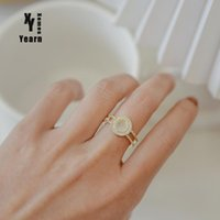 Cluster Rings Design Sense Double Layer Gold Round Opal Opening Goth Girl's Fashion Jewelry Wedding Party Luxury For Woman In 2021