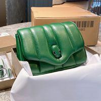 Diseñador Mujer Serpentine Cabochan Bolsa de Hombro Lujos Diseñadores Bolsos Italia Edición Limitada Edición Limitada Snakehead Lock Bolsos Bolso de cuero Cordero