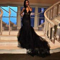 New Black Evening Dresses Mermaid Illusion Spaghetti Straps Layers Ruffles Long Train Prom Dress Applique Lace Occasion Party Gowns vestidos de novia