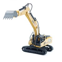 Huina toy 1:60 static model children's simulation engineering vehicle crawler excavator wood grabber
