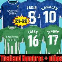 21 22 Real Betis Soccer Jerseys Joaquin B.Ignesias Camiseta de Fútbol Loren Juanmi Bartra Telo A.Guardado Canales Fekir 2021 2022 Kit Camicie da calcio Hombres Niños