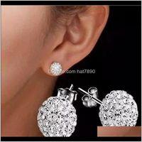Jewelrycrystal Stud For Women 6Mm 8Mm 10Mm Shambhala Round Earrings Full Of Diamond Fashion Studs Earings Drop Delivery 2021 Lixdz